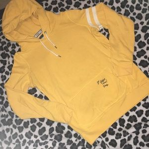 PINk yellow pullover hoodie. Sz large. VGUC